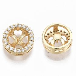 laiton micro pavé zircone cubique peg bails pendentifs, pour la moitié de perles percées, réel 18 k plaqué or, sans nickel, plat rond, effacer, 11x5 mm, broche: 1 mm (pour perles semi-percées)(KK-N232-33-NF)