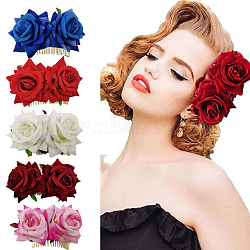 Peignes en fer, de velours fleur, couleur mixte, 90x60mm(OHAR-Q280-01)
