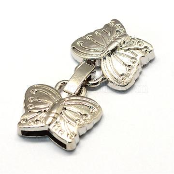 Alloy Fold Over Clasps, Butterfly, Platinum, 38.5x20x5mm, Half Hole: 2x11mm(PALLOY-R089-25P)