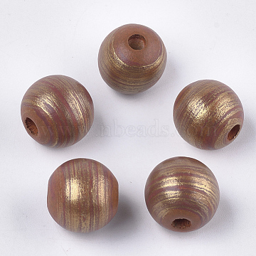 Hand Painting Natural Wood European Beads, Large Hole Beads, Round, Goldenrod, 15~16x14.5mm, Hole: 4mm(WOOD-S053-07A)