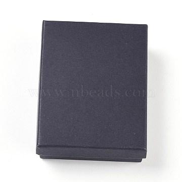Cardboard Jewelry Set Boxes, with Sponge inside, Rectangle, Black, 9x6.9x2.7cm(CBOX-G015-03)