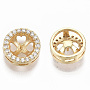 Real 18K Gold Plated Clear Brass+Cubic Zirconia Peg Bails(KK-N232-33-NF)