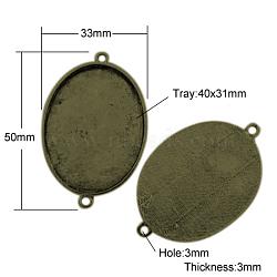 Supports du connecteur de cabochon de style tibétain, cuvettes à bord droit, sans plomb et sans nickel, ovale, bronze antique, 50x33x3mm, Trou: 3mm, Plateau: 40x31 mm(X-TIBE-A124206-AB-FF)