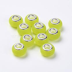résine perles européennes, avec doubles noyaux en laiton plaqué couleur argent, imitation oeil de chat, givré, rondelle, champagneyellow, 14x8.5 mm, trou: 5 mm(RPDL-K001-A22)