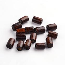Деревянные бусины, трубка, без свинца, окрашенные, коричневые, 8x5 мм, отверстие : 2 мм(X-WOOD-S620-9-LF)