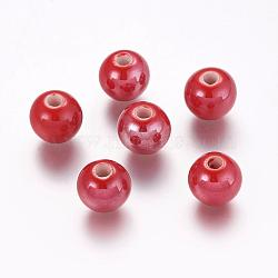 Pearlized Red Handmade Porcelain Round Beads, 10mm, Hole: 2~3mm(X-PORC-D001-10mm-15)