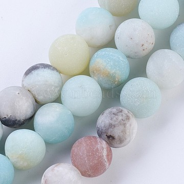 Frosted Natural Amazonite Round Bead Strands, 12mm, Hole: 1.5mm; about 32pcs/strand, 15.5inches(X-G-E334-12mm-09)
