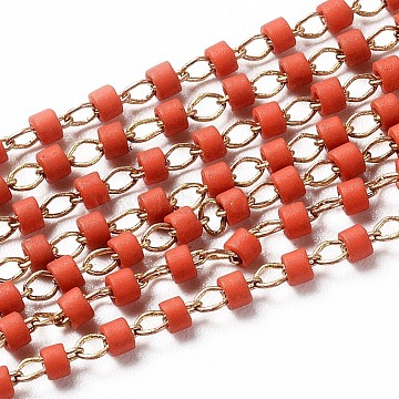 OrangeRed Brass+Glass Handmade Chains Chain
