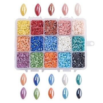 15 Colors Pearlized Plated Handmade Porcelain Cabochons, Horse Eye, Mixed Color, 8x4x2mm, about 303~315pcs/color, about 4545~4725pcs/box(PORC-JP0001-02-B)