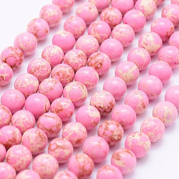 Synthetic Imperial Jasper Beads Strands, Round, Pink, 8~8.5mm, Hole: 1mm; about 49pcs/strand, 15.7inches(40cm)(G-F531-8mm-H01)