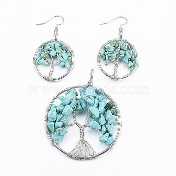 Brass Jewelry Sets, Big Pendants and Dangle Earrings, with Dyed & Heated Natural Howlite, Platinum, Ring with Tree of Life, 64x51x1.5~10mm, Hole: 4x5mm, 52x29x1.5~8mm, Pin: 0.8mm(SJEW-K072-20M)