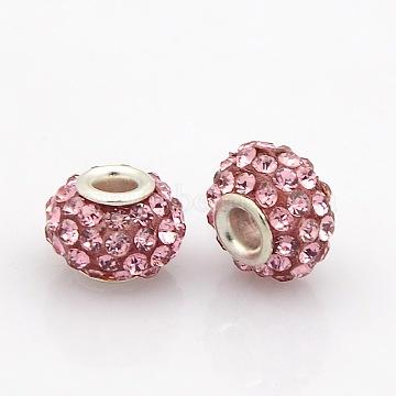 10mm Rondelle Resin + Rhinestone Beads