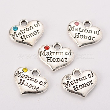 Wedding Theme Antique Silver Tone Tibetan Style Heart with Matron of Honor Rhinestone Charms, Mixed Color, 14x16x3mm, Hole: 2mm(X-TIBEP-N005-03)