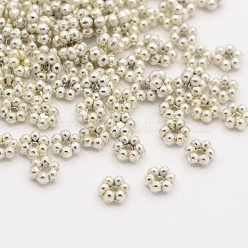 Tibetan Style Spacer Beads, Cadmium Free & Nickel Free & Lead Free, Flower, Antique Silver, 3x1mm, Hole: 0.5~1mm(X-LFH267Y-AS-NR)