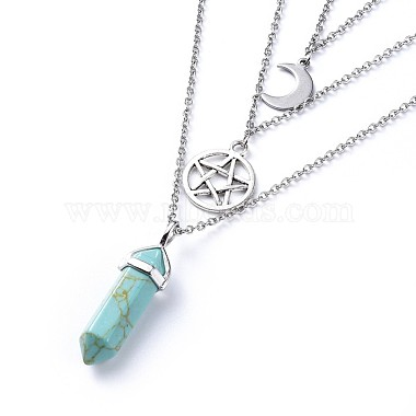 Bullet Synthetic Turquoise Pendant Tiered Necklaces(NJEW-JN02457-06)-2