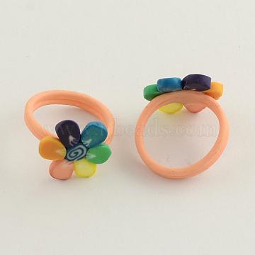 Handmade Polymer Clay Flower Finger Rings for Children, Colorful, 16mm(RJEW-Q153-02)