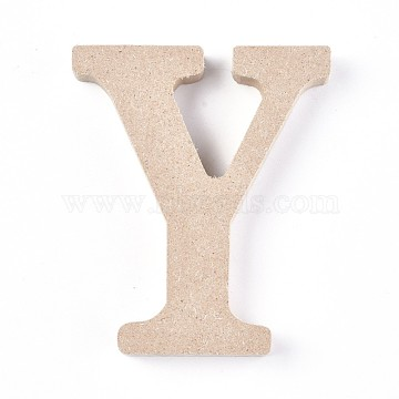 Letter Unfinished Wood Slices, Laser Cut Wood Shapes, for DIY Painting Ornament Christmas Home Decor Pendants, Letter.Y, 100x84x15mm(DIY-WH0162-62Y)