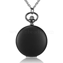 """Rondes alliage quartz montres de poche plats, avec des chaînes de fer et fermoirs pince de homard, gunmetal, 32.2""""; cadran montre: 57x41x14 mm; boitier montre: 32 mm(WACH-N039-04B-B)"""