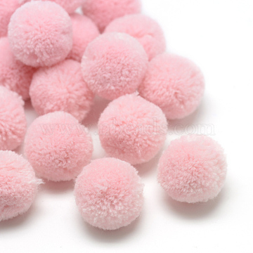 DIY Doll Craft Polyester Pom Pom Ball, Round, Pink, 20mm(X-AJEW-S063-2.0cm-09)