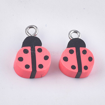 Handmade Polymer Clay Pendants, with Iron Findings, Ladybug, Platinum, Light Coral, 15~17x10~10.5x5mm, Hole: 1.8mm(X-CLAY-S091-95)