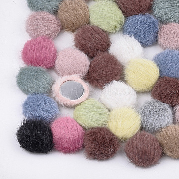 Polyester Faux Mink Fur Cabochons, with Aluminum Bottom, Flat Round, Platinum, Mixed Color, 17~17.5x5.5~6mm(X-WOVE-S118-19A-M)