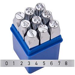 Timbres de sceau de fer, numéro 0~8, platine, 74x12.5x12.5 mm; 9 pcs / boîte(AJEW-BC0005-23B)