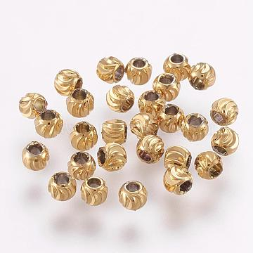 Brass Beads, Long-Lasting Plated, Round, Real 18K Gold Plated, 3x2mm, Hole: 1mm(KK-G312-01G-3mm-G)